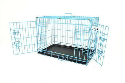"BLUE 30"" CHAMPION BRAND 2 DOOR FOLDING DOG CRATE KENNEL"