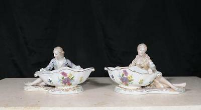 Pair Dresden Porcelain Figurine Dishes Bowls German Pottery