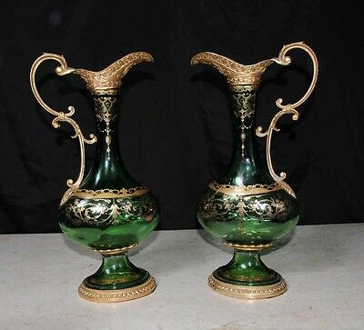 Pair Empire Glass Jugs Vases Painted Arabesque French Ormolu Fixtures