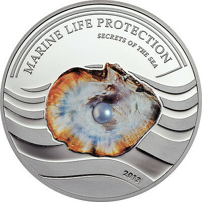 2013 Palau Large Proof Silver Color $5 Pearl