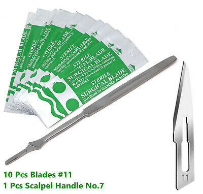 New Stainless Steel Scalpel Knife Handle #7 + 10 Surgical Sterile Blades #11