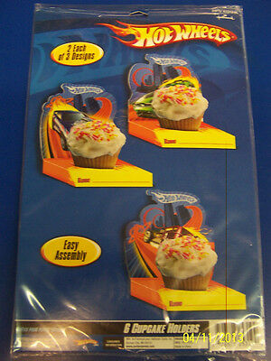 RARE Hot Wheels High Speed Race Car Birthday Party Decoration Cupcake Holders *