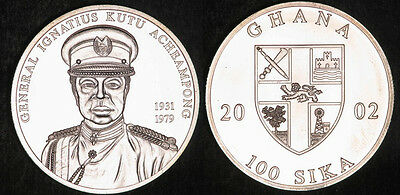 2002 Ghana Large Silver 100 Sika General  Acheampong- BU