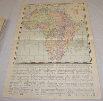 1911 Cram Antique COLOR Map/AFRICA, b/w NEW ZEALAND