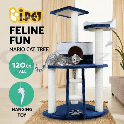 Cat Scratching Tree Post Scratcher Pole Condo Gym Furniture Tall Blue 120cm