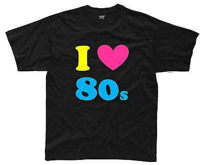 I LOVE THE 80s Mens T-Shirt S-3XL Black Outfit Fancy Dress Costume Neon 80's