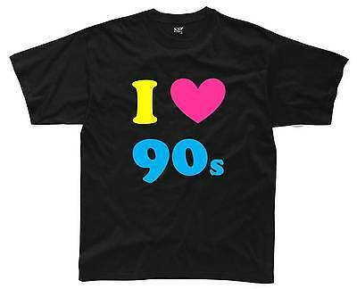 I LOVE THE 90s Mens T-Shirt S-3XL Black Outfit Fancy Dress Costume Neon (B1)