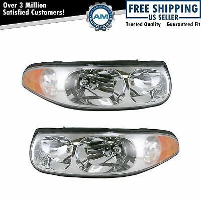 Headlamps Headlights Left LH & Right RH Pair Set for 00-05 Buick LeSabre