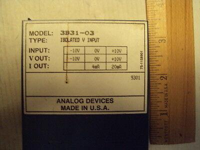 3B31-03 Analog Devices Isolated  Volt Input -10 to +10v; Vout -10 to +10, 4-20ma