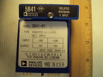 5B41-03 Analog Devices Isolated Wideband Voltage Input In-10 to +10 Out:-5 to+5