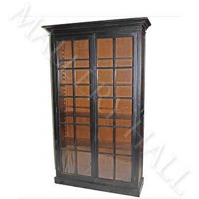 Oak Tudor Glass Two Door Front Bookcase Black Or Brown Antique Brass Hardware