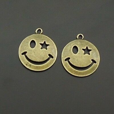 30X Vintage Style Bronze Tone Smiling Face Pendant Charms Findings 19*19*2mm