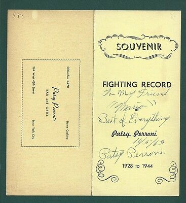 Boxing Champion Patsy Perroni Signed pamphlet