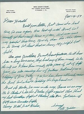 Pete Zivic Signed letter Boxing champ