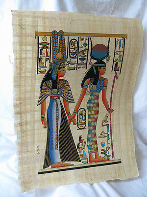 """Egyptian Papyrus Paper Hand Painting Nefertari & Isis 13X17"""" Great Quality"""