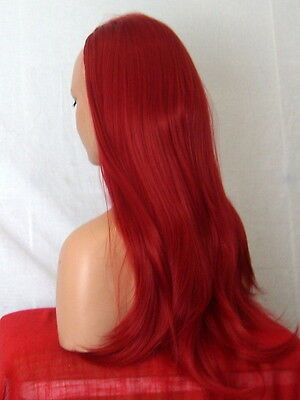 Half Wig Fall Clip In Hair Piece straight Long 3/4 wig fall Red synthetic Y-15