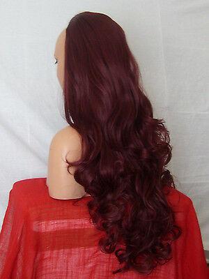 Half Wig Fall Clip In Hair Piece Curly Long 3/4 wig fall Plum Red Synthetic X-16