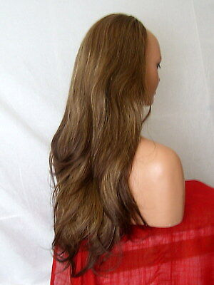 Half Wig Fall Clip In Hair piece flick layered Long 3/4 wig fall Brown mix Z11
