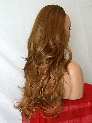 Half Wig Fall Clip In Hairpiece flick layered Long 3/4 wig fall Brown streak Z24