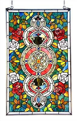 MANDALA LOTUS BLOSSOM VICTORIAN FLORAL ROSES  20x32 STAINED GLASS WINDOW PANEL