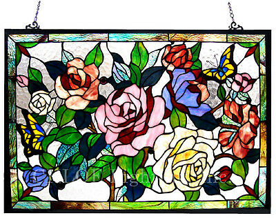 ROSE BOUQUET and BUTTERFLIES  * 27x19 RED PINK FLORAL STAINED GLASS WINDOW PANEL