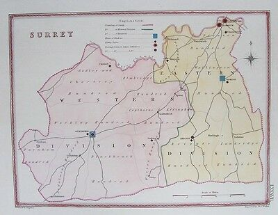 OLD ANTIQUE MAP SURREY BOUNDARY PLAN c1830's by CREIGHTON / WALKER 18th CENTURY