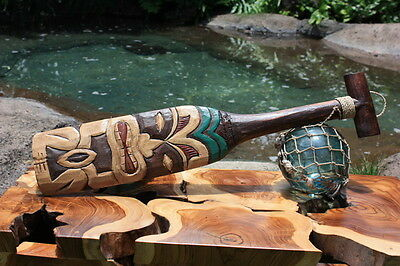 """Tiki Paddle 22"""" Hand Carved & Painted 2"""