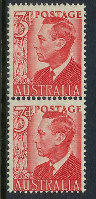 Stamps Australia 3d red KGV1 definitive coil perf pair large & small holes