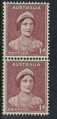Stamps Australia 1d maroon queen mother coil perf pair large & small holes MUH