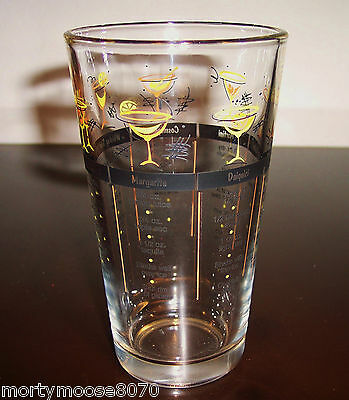 COCKTAIL MIXED DRINK RECIPE BAR PINT GLASS WITH 7 RECIPES BRAND NEW MINT COND.