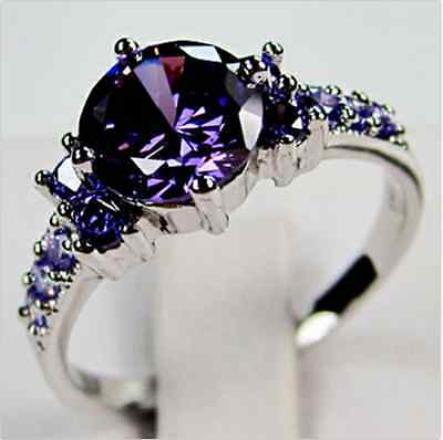 Junxin White Gold Round Cut Purple Amethyst Gem Wedding Band Ring Gift Size 6-10