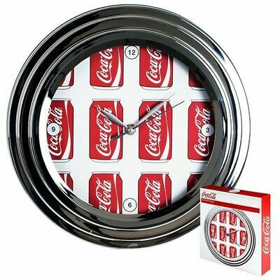 Coca-Cola Wall Clock with Chrome Finish - Cans Style - 11.75 inches