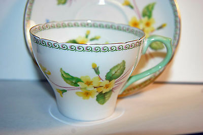 Shelley - Vintage cup and saucer, Yellow primroses with green trim