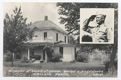 RPPC Eisenhower's Mother's House, Abilene, KS, 1940s, Kansas WWII