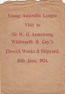 Young Australia League 1924 Visit to Sir G Armstrong Elswick Works & Ship cover