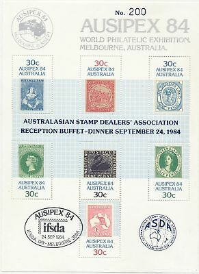 Stamps Australia AUSIPEX mini sheet with ASDA overprint on dinner menu, scarce