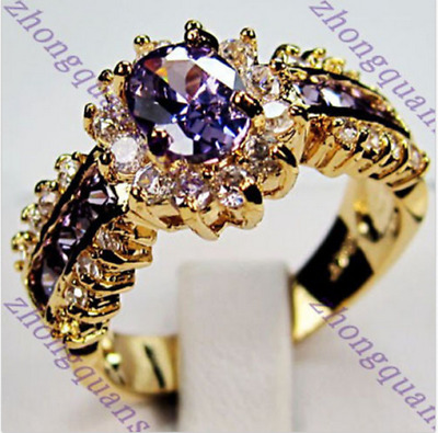 Size 5-12 Purple Amethyst Crystal Wedding Ring 10KT Yellow Gold Filled Jewelry
