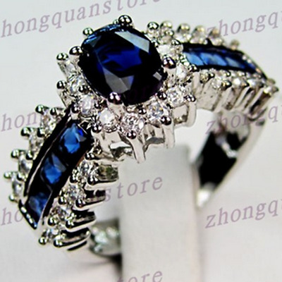 Size5-12 Oval Cut Blue Sapphire Crystal Ring 10KT White Gold Filled Wedding Band