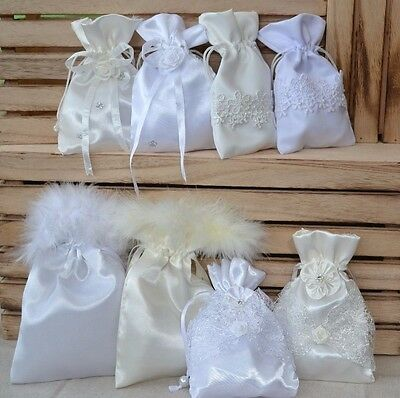 Pretty satin pouch bag for wedding ring instead of ring cushion ivory white