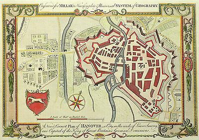 HANNOVER - Grundriss - New & Correct Plan of Hanover - kolor. Kupferstich 1785