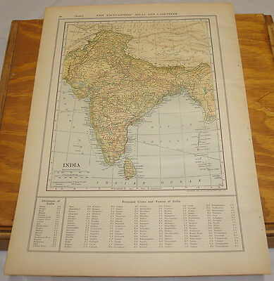 1908 Colliers Antique COLOR Map/INDIA, b/w PERSIA, AFGHANISTAN, BALUCHISTAN