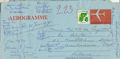Stamps Australia 14c aerogramme uprated to 20c used 1974 to Holland, nice