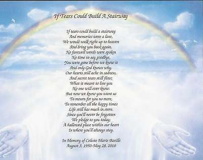 """Personalized Memorial Poem """"If Tears Could Build A Stairway"""" Loss of Loved One"""