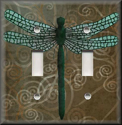 Metal Light Switch Plate Cover Dragonfly With Brown Swirl Background  Home Decor