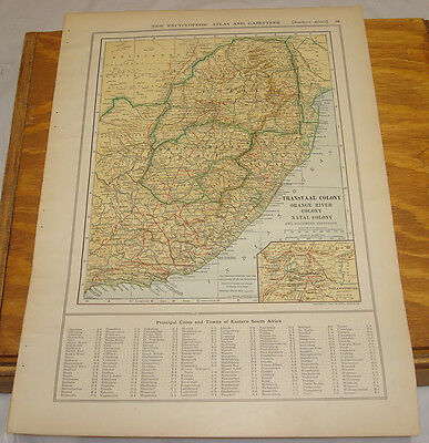 1908 Colliers Antique COLOR Map/TRANSVAAL COLONY ETC., b/w ARABIA & ASIA MINOR