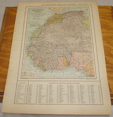 1908 Colliers Antique COLOR Map/NORTHWEST AFRICA, b/w CENTRAL AFRICA & CONGO
