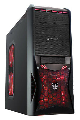 Vantage Midi ATX PC Gaming Tower Computer Case + Red Led Fans & Card Reader