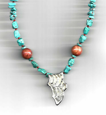 EQUUS DENTIS Pointe Sterling Silver Turquoise Necklace with Coral Handcrafted