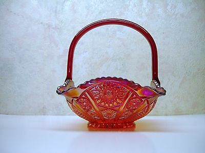 """Vintage Indiana Glass Red Carnival Heirloom Crimped Handled Basket 8"""" Tall Excll"""