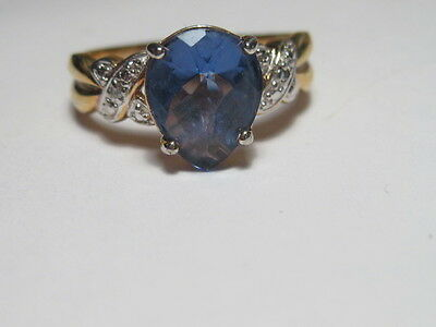 Vintage Gold over Sterling Silver & Sterling Faux Sapphire/Diamond Ring - size 1
